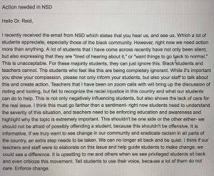 NSD Petition, email by Ally Sutherland (WHS 21)
