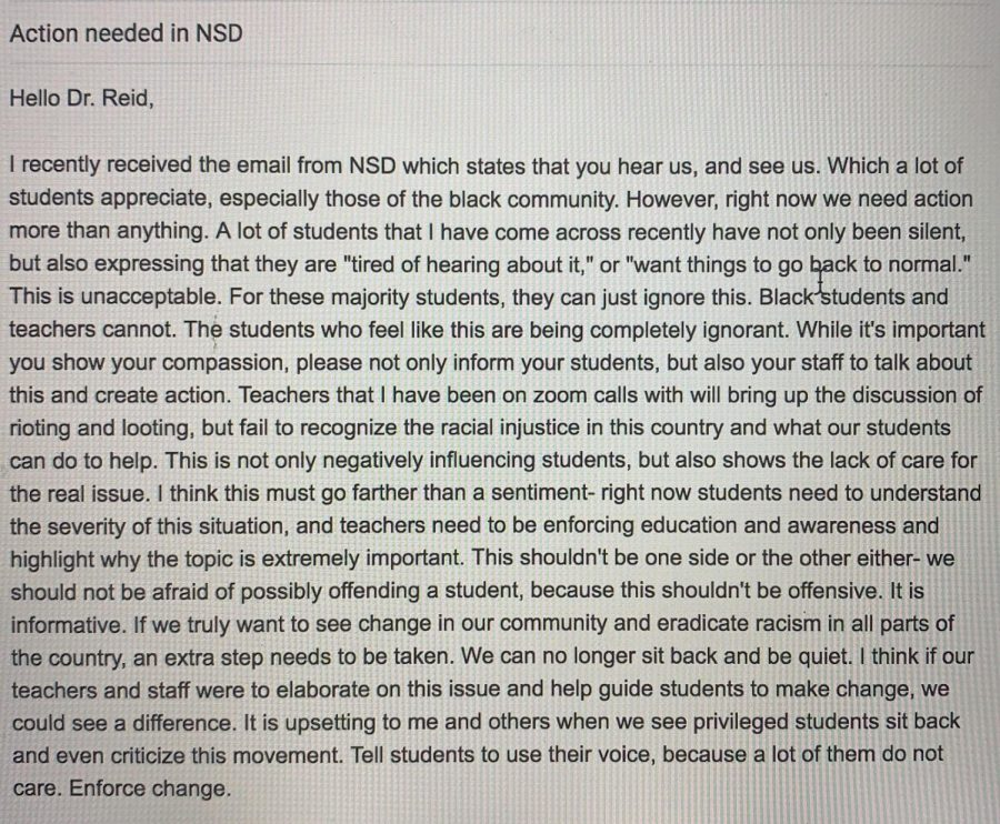 NSD Petition, email by Ally Sutherland (WHS