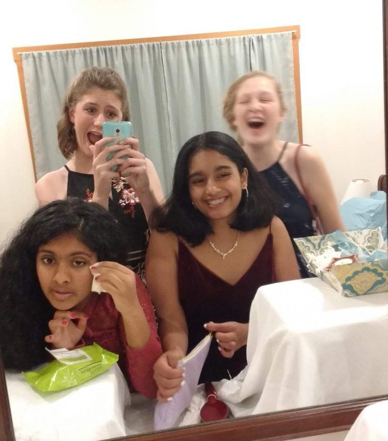 Kaya Suraci, Lillian Deer, Diya Anoop, and Malavika Santhosh get ready for their first HOCO, 2018.