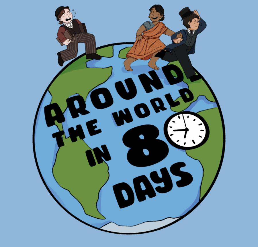 Around the World in 80 Days Artwork by Chloë Asmann ('22)
