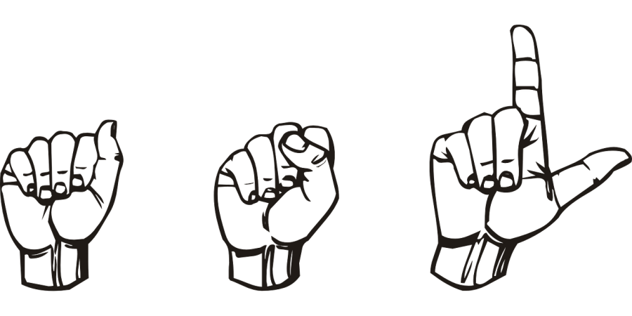 The picture is a fingerspelling of ASL using the American Sign Language alphabet. Photo credit: pixabay